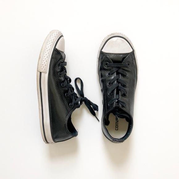 girls black leather converse